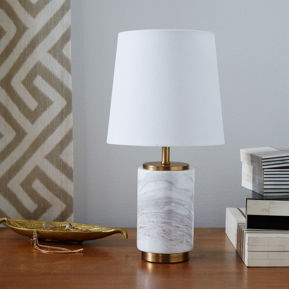 Small pillar table lamp marble west elm australia small pillar table lamp marble aloadofball Images