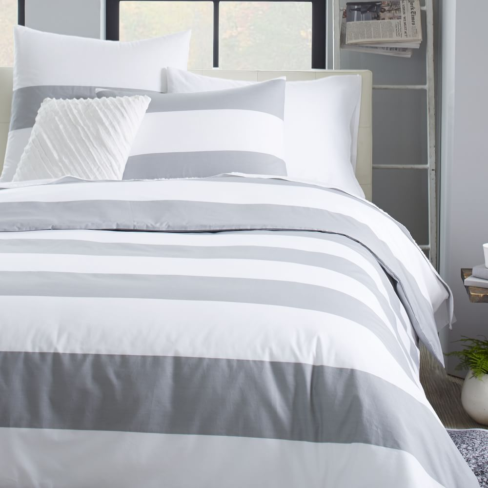 Mod Stripe Quilt Cover Pillow Shams White Feather Grey