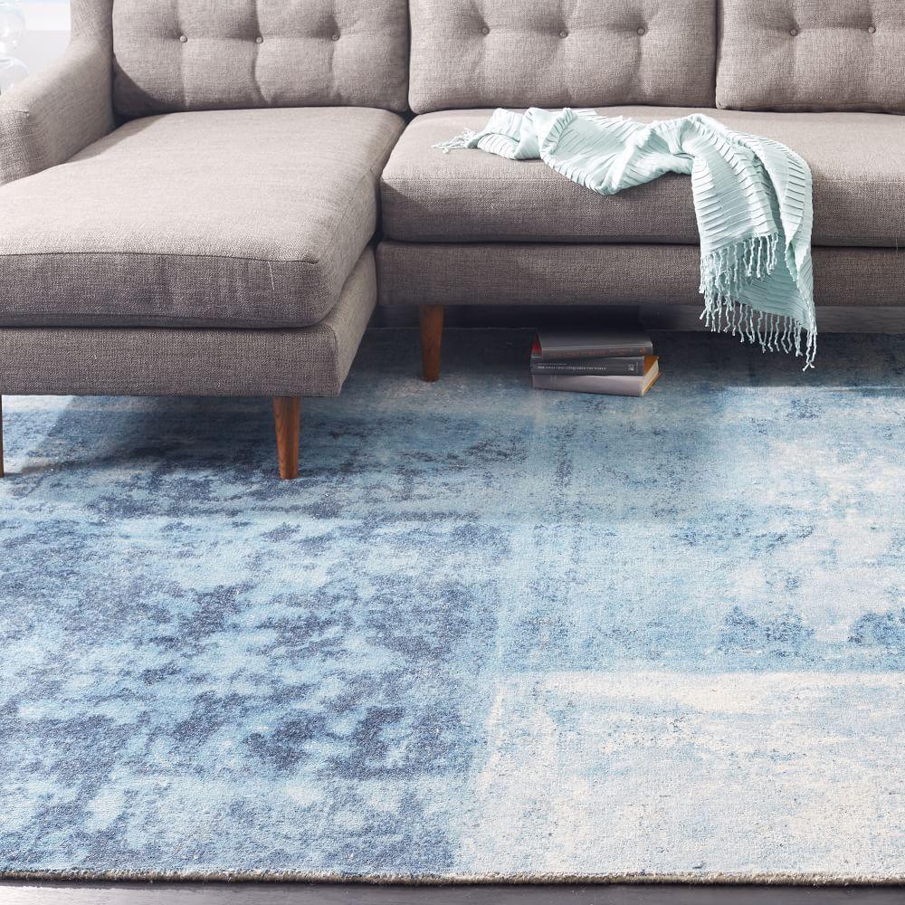 Distressed Rococo Wool Rug Blue Lagoon West Elm Australia