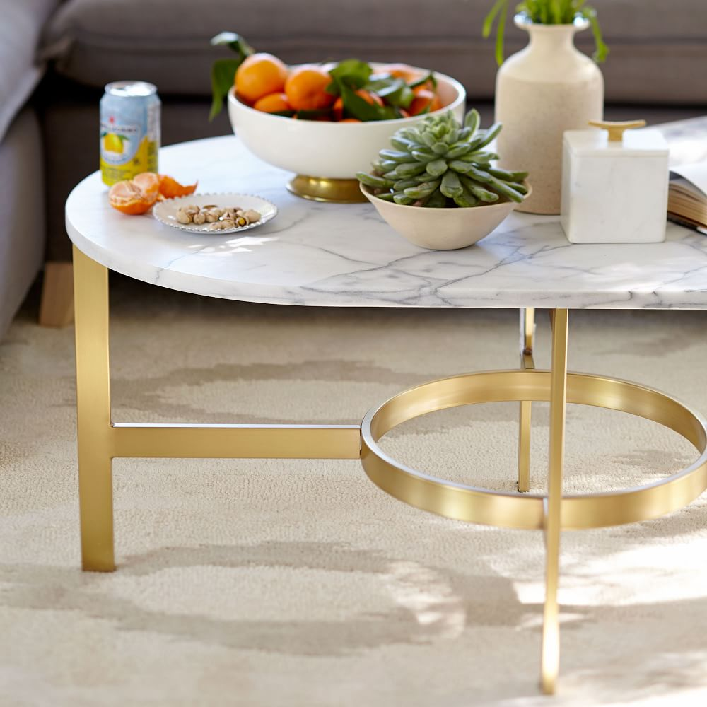 Marble Coffee Table: Marble Oval Coffee Table