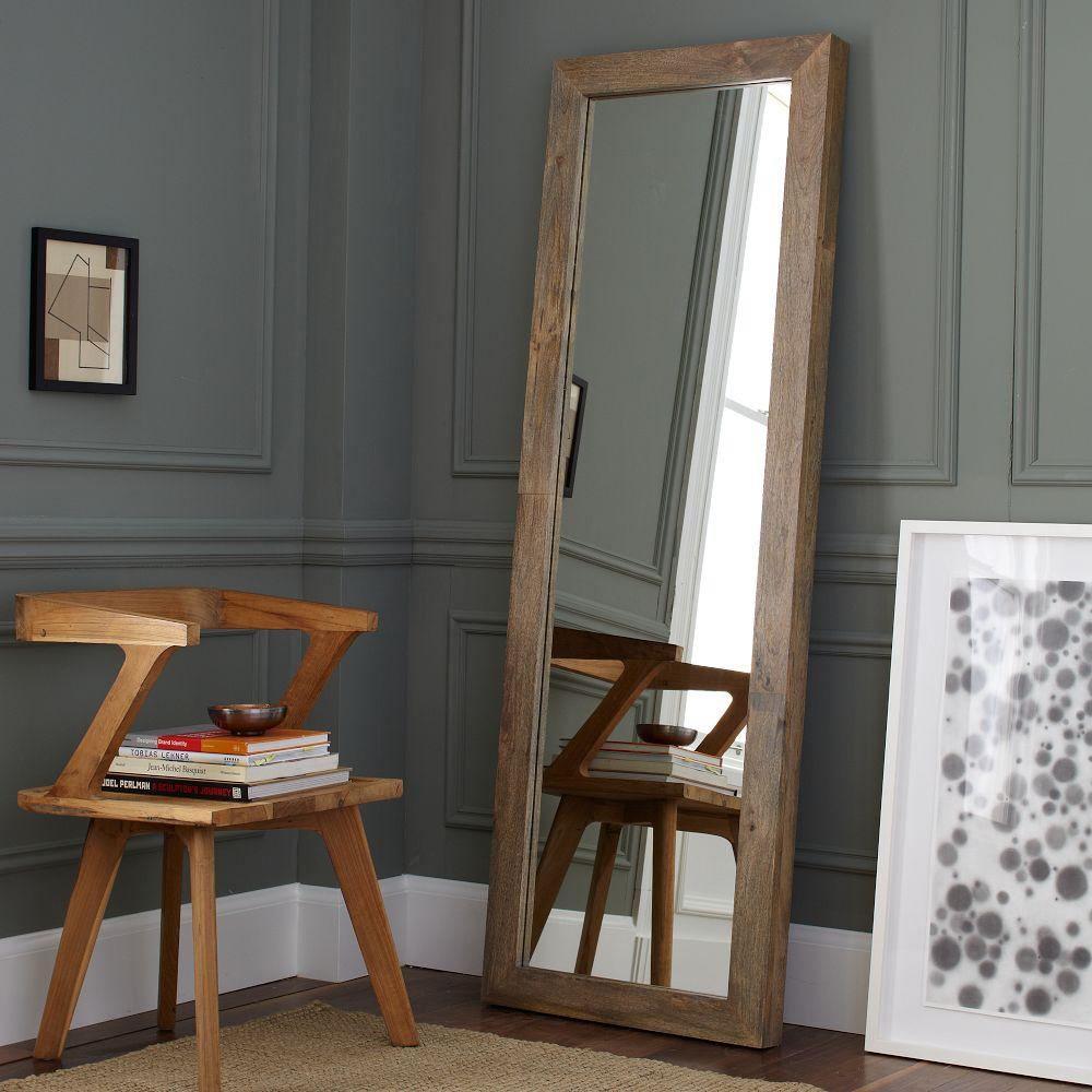 Parsons floor mirror natural solid wood west elm au for Wood floor length mirror