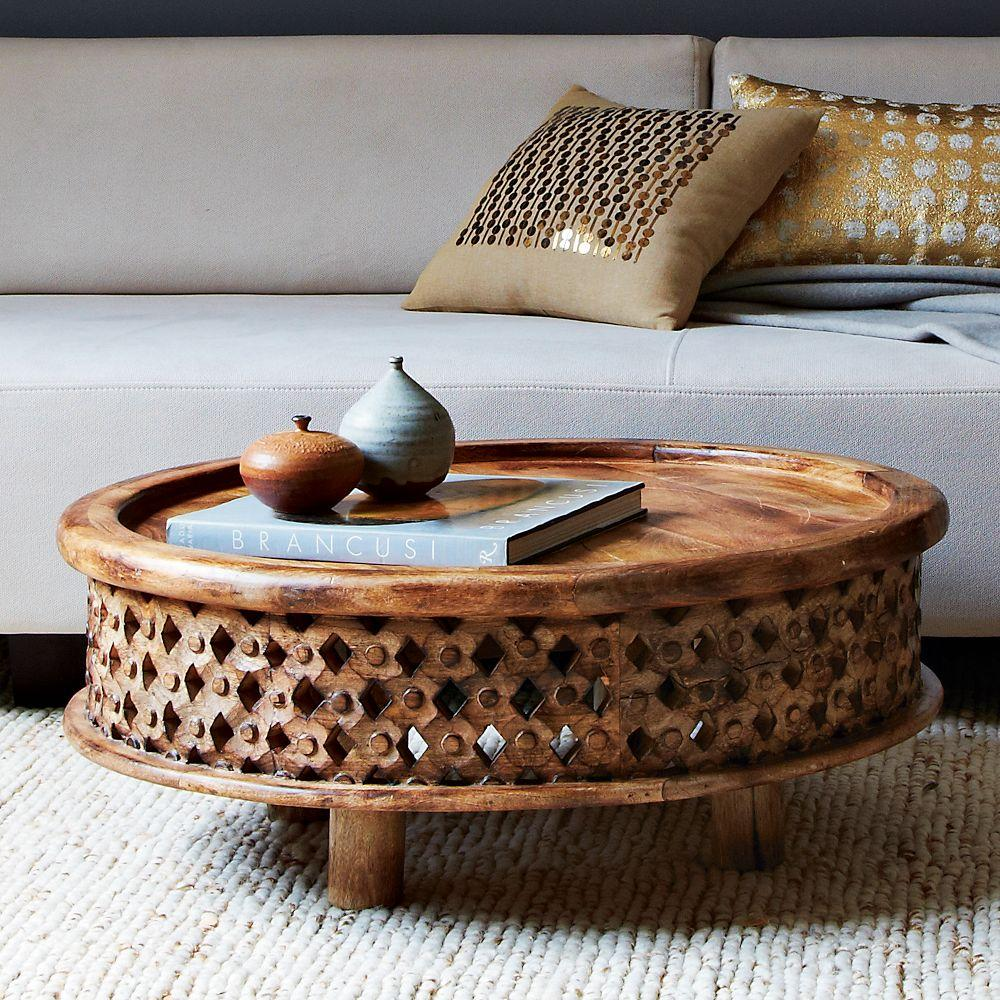 Carved wood coffee table west elm au Low wooden coffee table