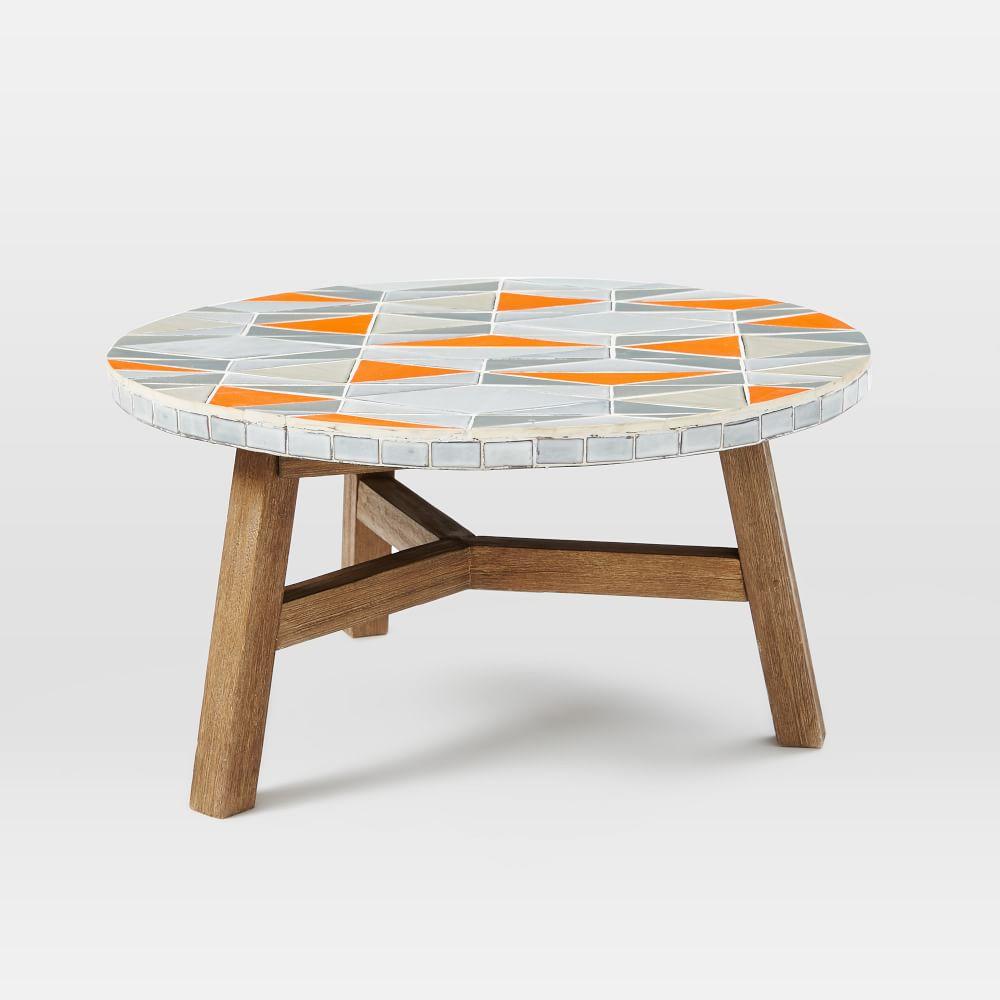 Mosaic tiled coffee table mid century orange for Orange coffee table