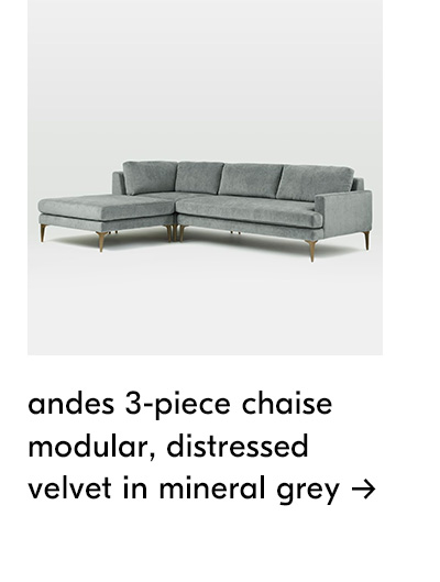 shop andes 3-piece chaise modular