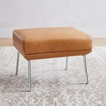 Austin Stationary Leather Ottoman