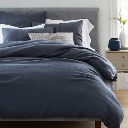 Belgian Flax Linen Quilt Cover & Pillowcases - Iron Blue