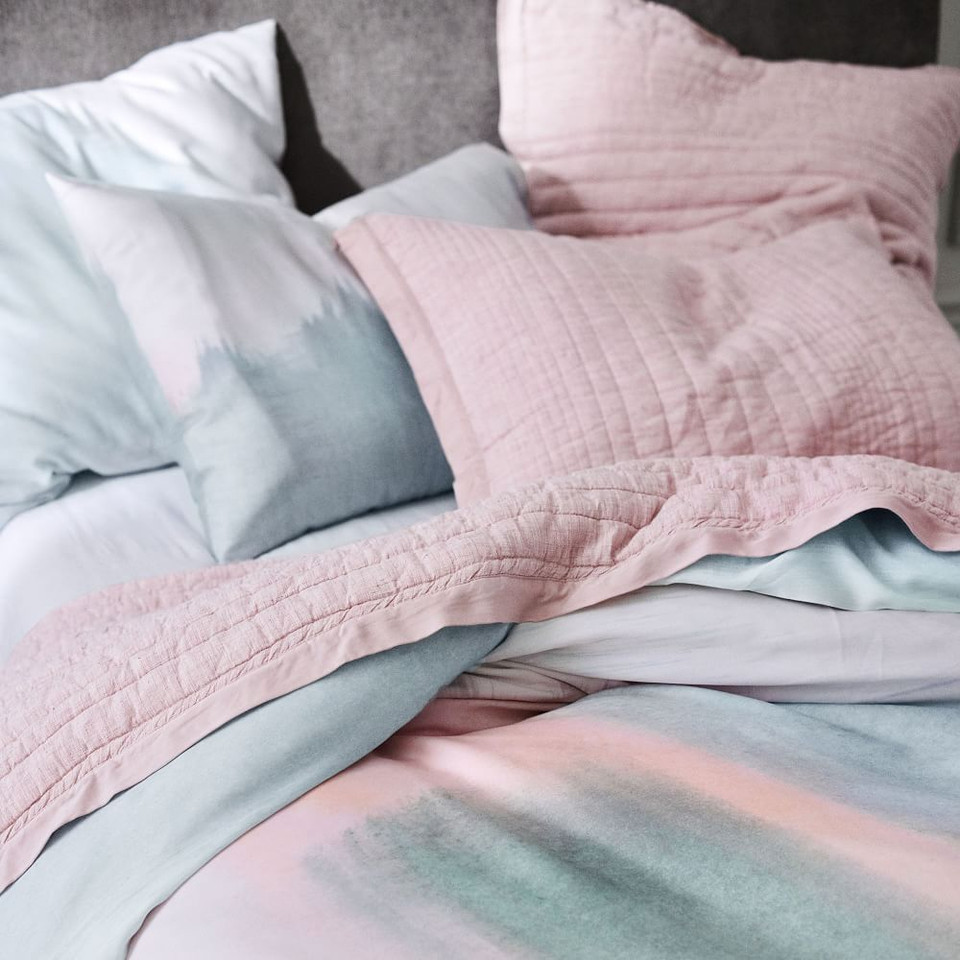 Belgian Flax Linen Linework Coverlet + Pillowcases - Vintage Rose