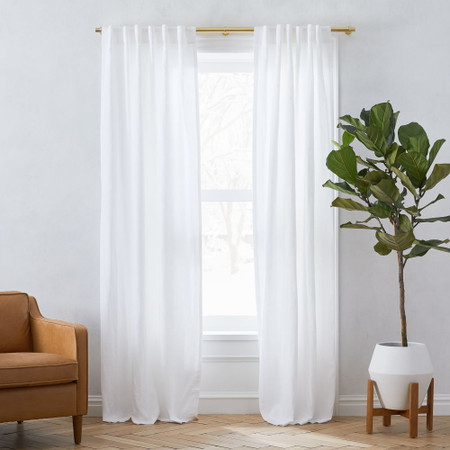 Belgian Flax Linen Curtain + Blackout Lining - White