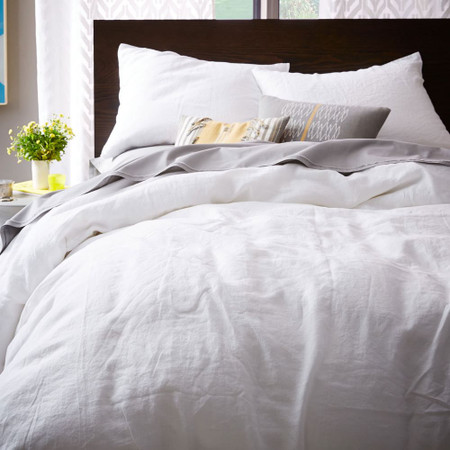 Belgian Flax Linen Quilt Cover Pillowcases White West Elm