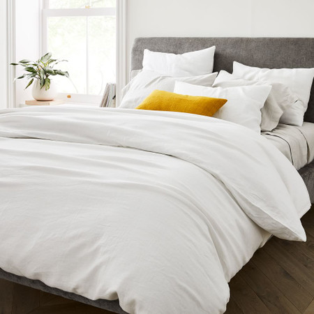 Belgian Flax Linen Quilt Cover & Pillowcases - White