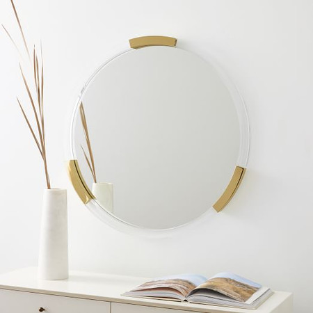 Brass + Lucite Collection - Circle Mirror