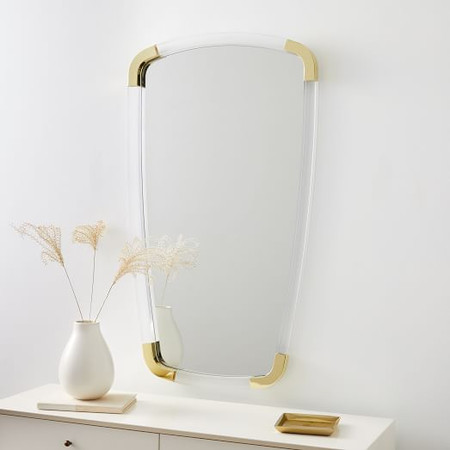Brass + Lucite Collection - Shield Mirror