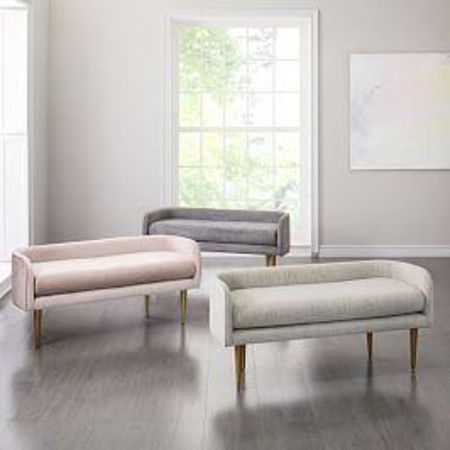 Celine Bench - Metal (Distressed Velvet)