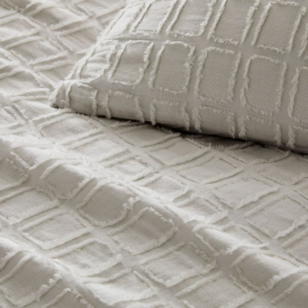 Clipped Jacquard Squares Quilt Cover & Pillowcases - Frost Grey
