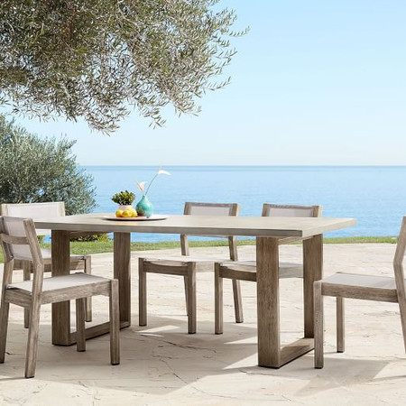 Concrete Outdoor Dining Table & 6 Portside Textilene Chairs Set