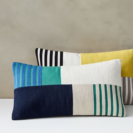 Corded Striped Blocks Cushion Cover