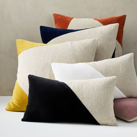 Cotton Linen & Velvet Corners Cushion Cover