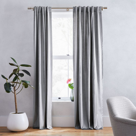 Cotton Lustre Velvet Curtain + Blackout Lining - Pewter