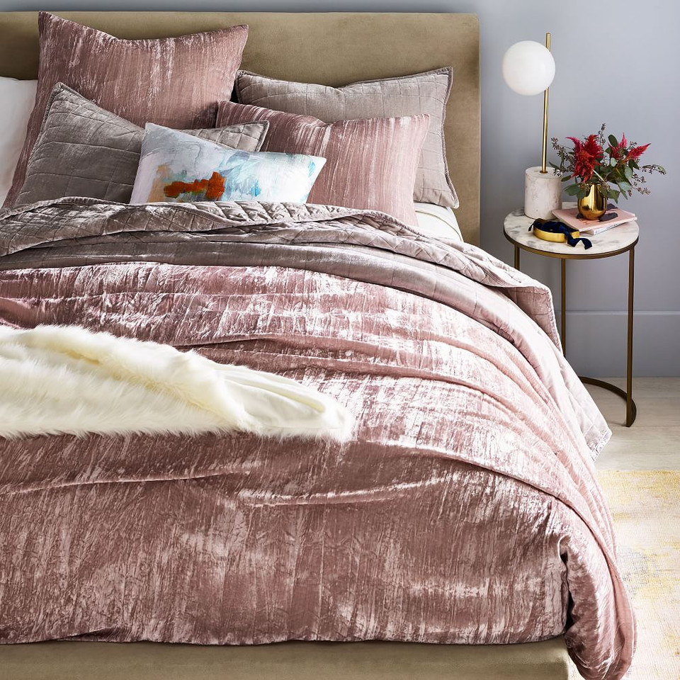 Crinkle Velvet Quilt Cover & Pillowcases - Dusty Blush
