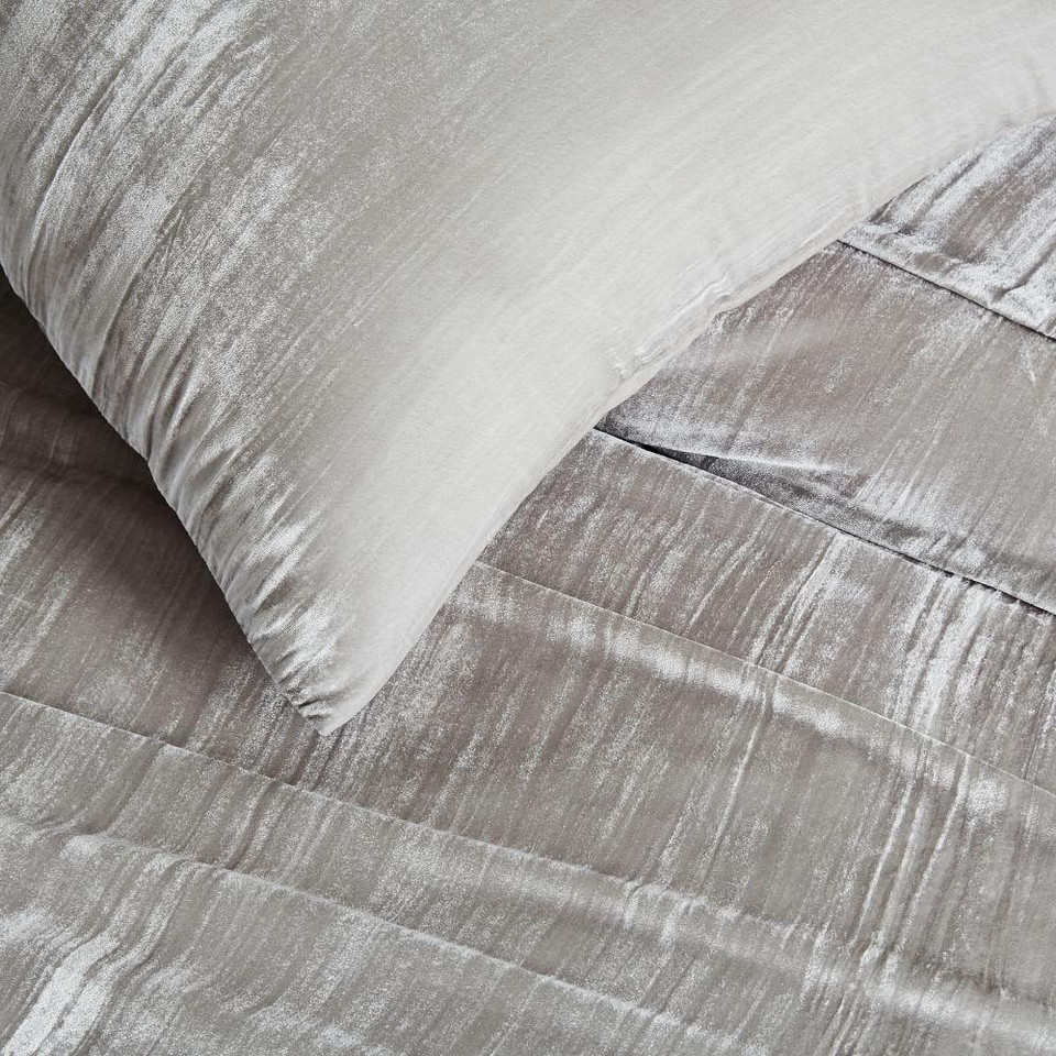 Crinkle Velvet Quilt Cover + Pillowcases - Platinum