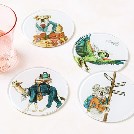 Dapper Animal Coasters - Spring Travels (Set of 4)
