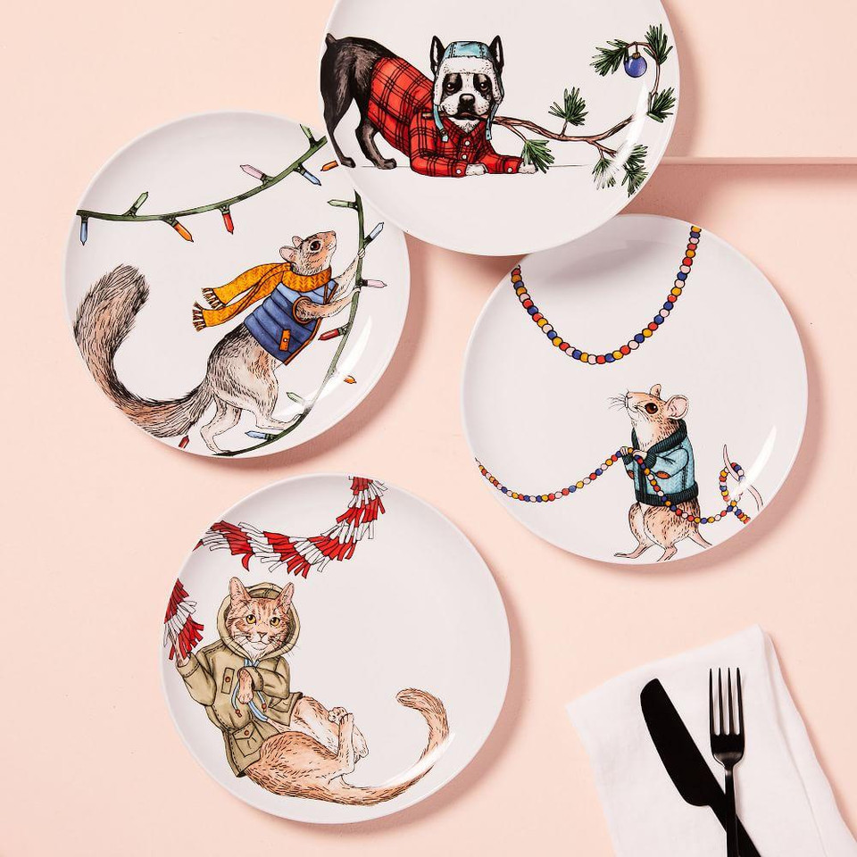 Dapper Christmas Animal Salad Plates