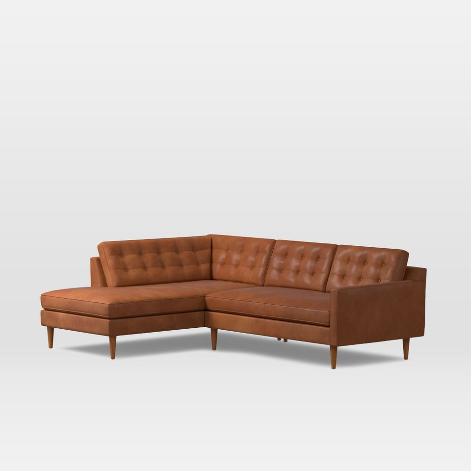 Drake Leather 2-Piece Terminal Chaise Modular Sofa