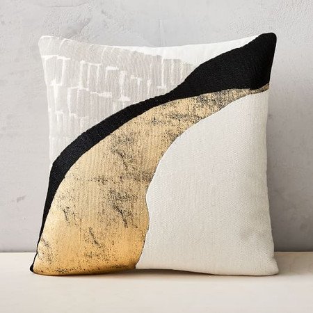 Embroidered Abstract Path Cushion Cover