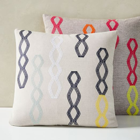 Embroidered Diamond Stripe Cushion Cover