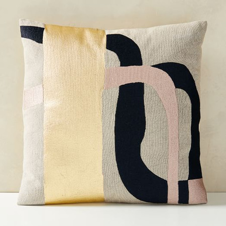 Embroidered Metallic Curves Cushion Cover
