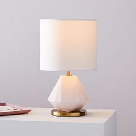 Faceted Porcelain Table Lamp - Blush Pink (35 cm)