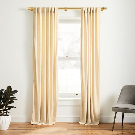 Faux Silk Moire Curtain - Champagne