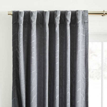 Faux Silk Moire Curtain - Pewter