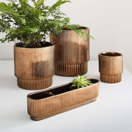 Fluted Planters - Crystal Gold
