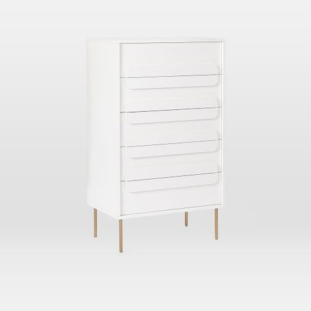 Gemini 5-Drawer Dresser - White Lacquer