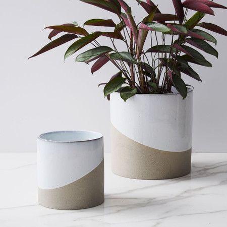 Half-Dipped Planters - White