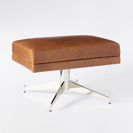 Hemming Leather Ottoman - Saddle