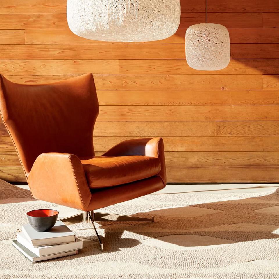 Hemming Leather Swivel Armchair | west elm Australia