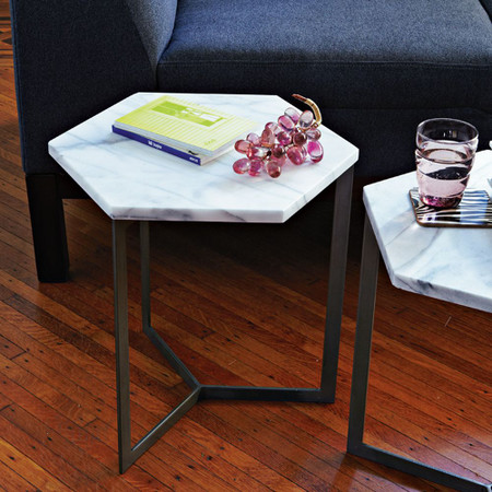 Hex Side Table, White Marble/Raw Steel