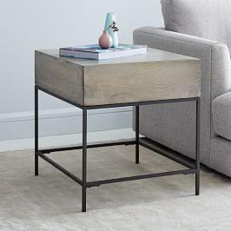 Industrial Storage Side Table - Grey