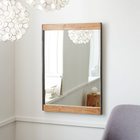 Industrial Metal & Wood Wall Mirror
