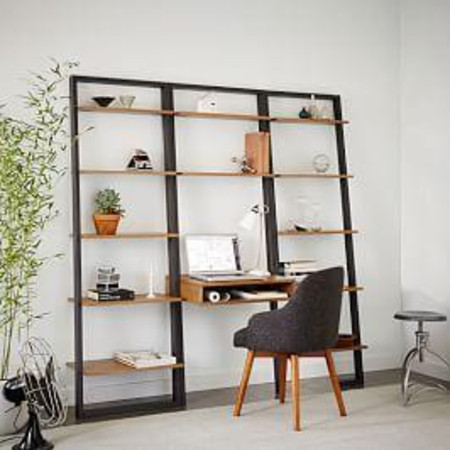 Ladder Shelf Desk + Wide Bookshelf Set