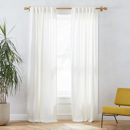Linen Cotton Pole Pocket Curtain + Blackout Liner - White