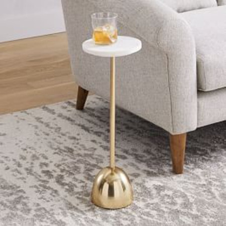 Marble + Brass Drink Table - Round