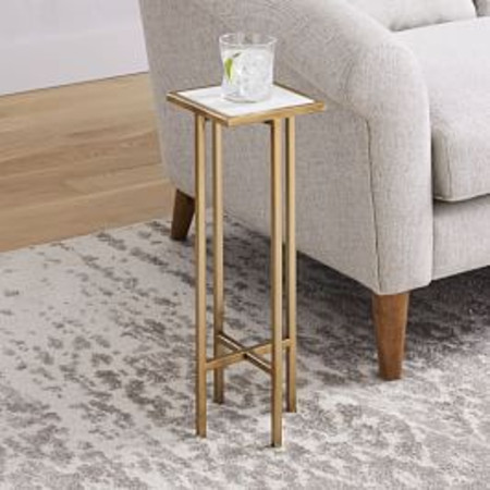 Marble + Brass Drink Table - Square
