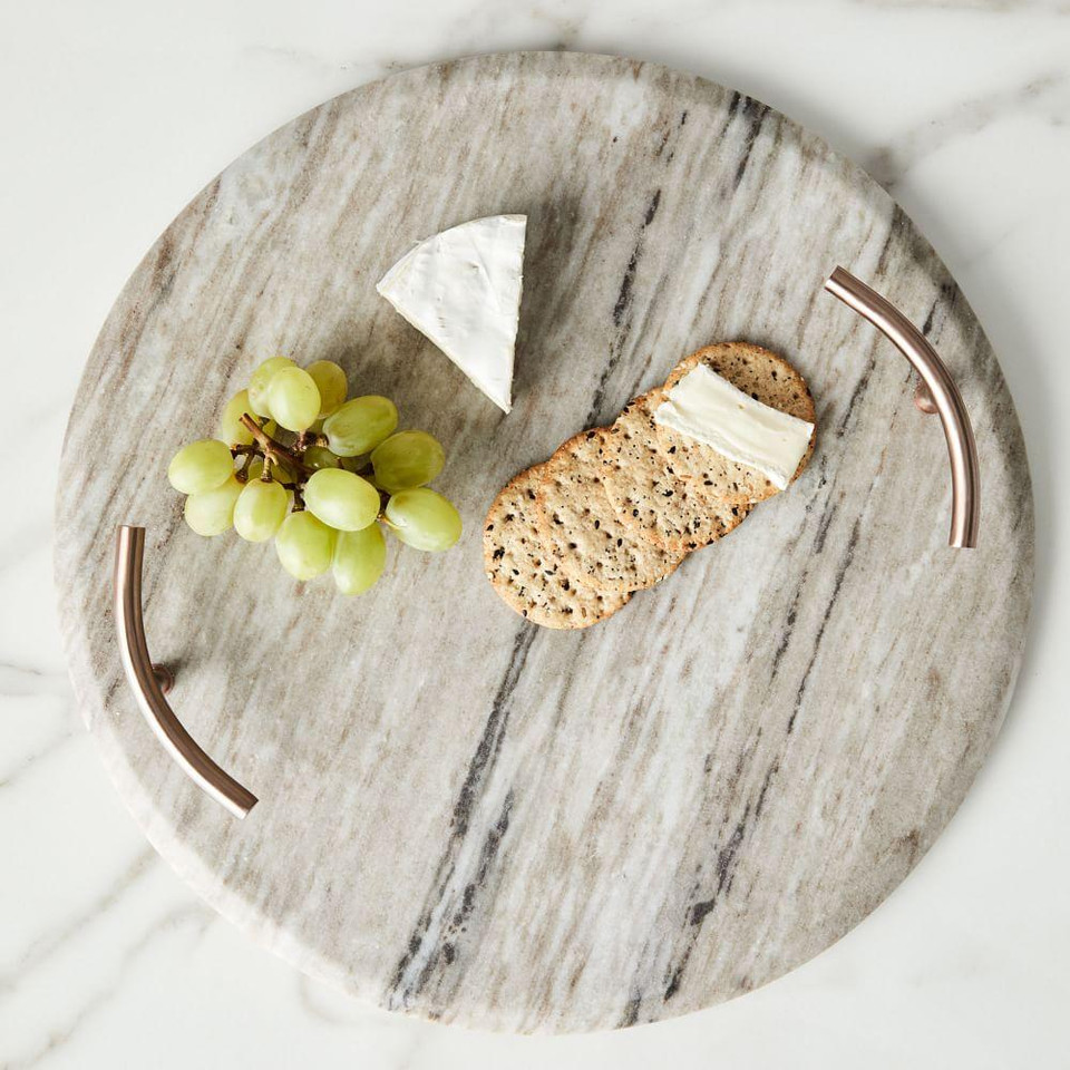 Marble + Copper Handled Cheese Board