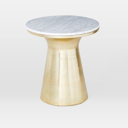 Marble Topped Pedestal Side Table - White Marble/Antique Brass