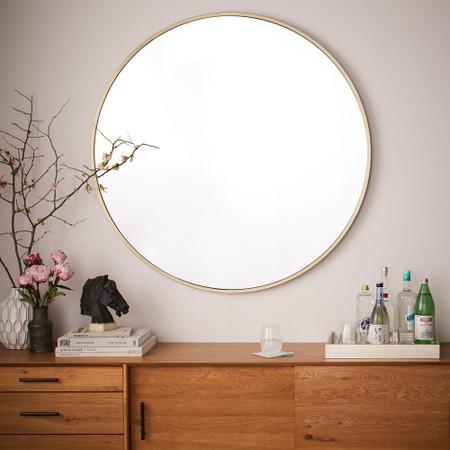 Metal Frame Oversized 48 Round Mirror, Large Gold Frame Circular Mirror