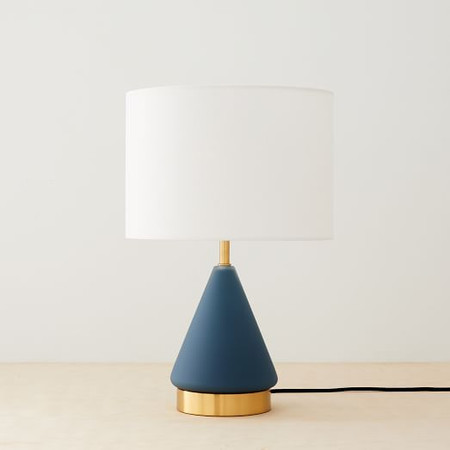Metalised Glass USB Table Lamp - Small (Petrol Blue)