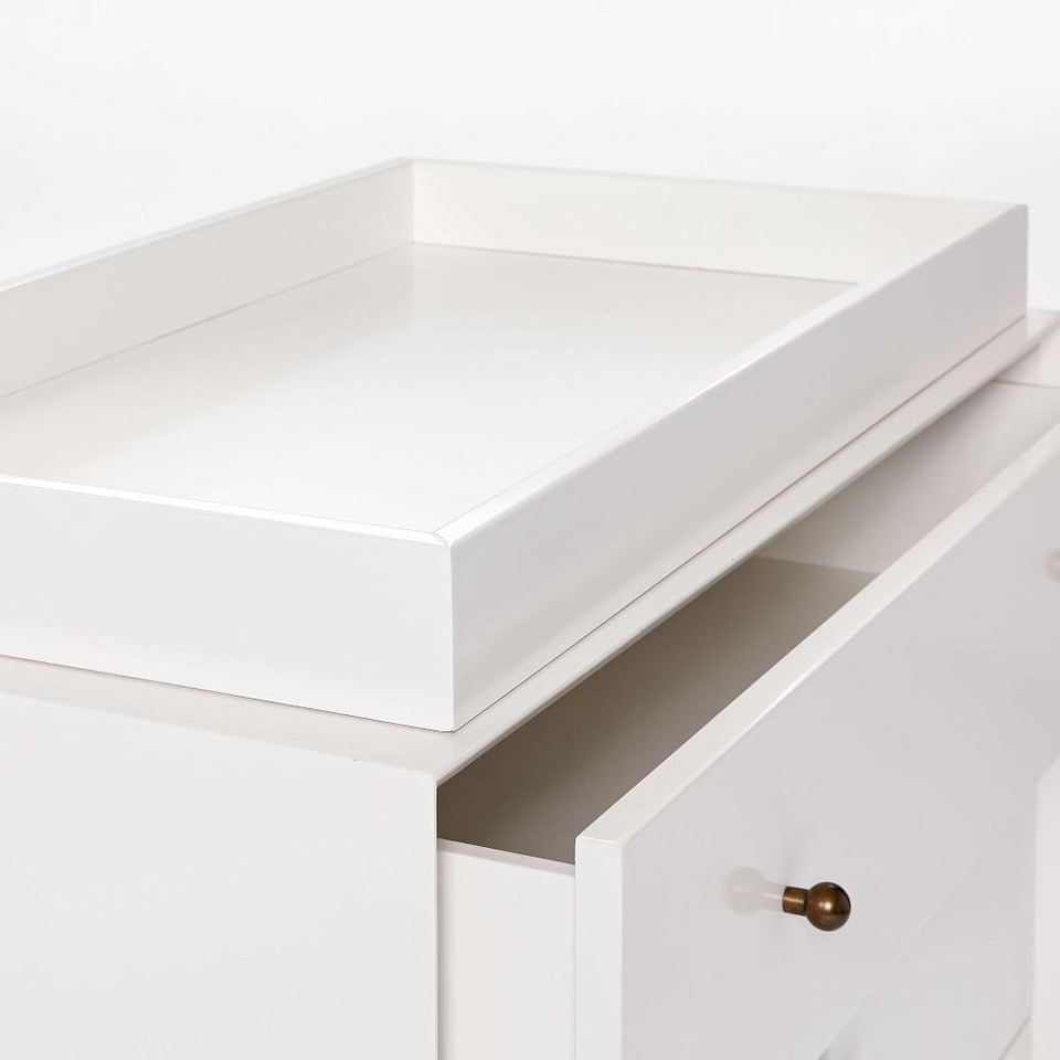 Mid-Century 3-Drawer Changing Table - White